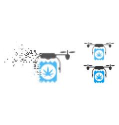Disintegrating pixelated halftone drone cannabis vector