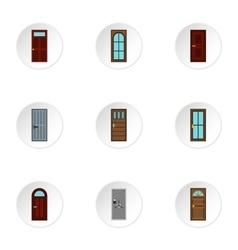 Door icons set flat style vector