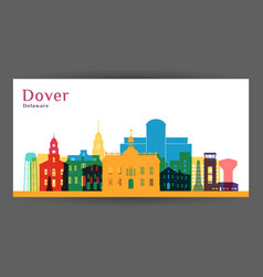dover city architecture silhouette colorful vector image