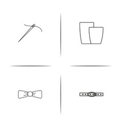 Dress and clothes simple linear icons set vector