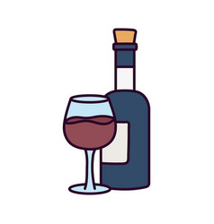 Drink beverage wine bottle and glass vector
