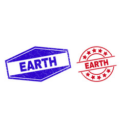 Earth unclean watermarks in round and hexagonal vector