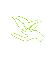 Ecological icon human hand growing green leaves vector