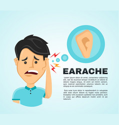 flat man with a earache vector image