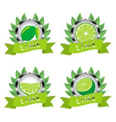 For ripe fruit green lime vector