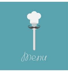 Fork with big mustache and chef hat Menu card vector