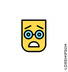 Frowning with open mouth emoji color icon vector