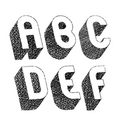 Geometric bold rounded 3d font with hand drawn vector image