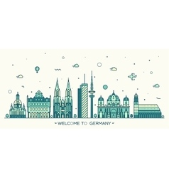 german cities linear style vector image