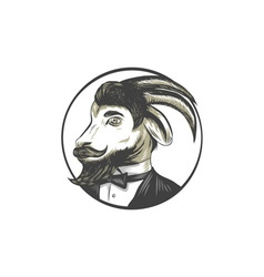 Goat beard tie tuxedo circle drawing vector