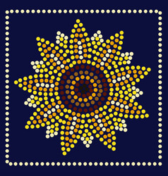 Graphic sunflower in dots vector