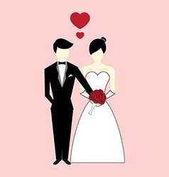 Groom give rose flower to Bride with heart vector image