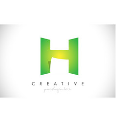 h letter design icon with paper cut design logo vector image