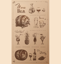 hand drawn alcoholic beverages retro menu design vector image