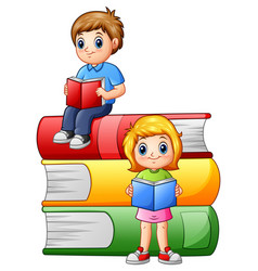 Happy school children with big books vector