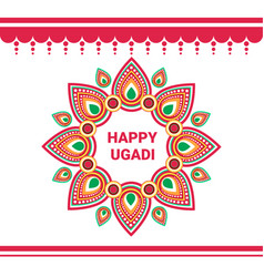happy ugadi gudi padwa hindu new year greeting vector image vector image