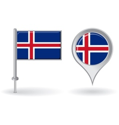 Icelandic pin icon and map pointer flag vector image