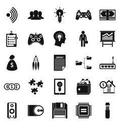 It project icons set simple style vector