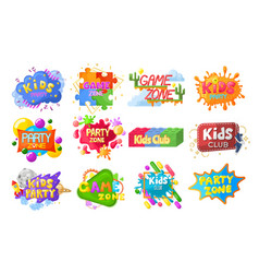 kids party emblem logo banner label set flat vector image