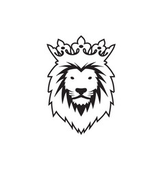 lion head with crown design concept vector image