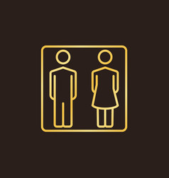 man and woman golden linear icon wc vector image