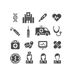 Medical or medicine black icon set vector