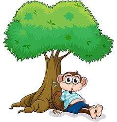 Monkey under a tree vector image vector image