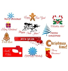 New year and chrismas symbols vector