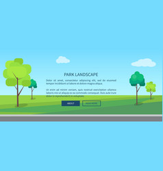park landscape web banner with green lawn vector image
