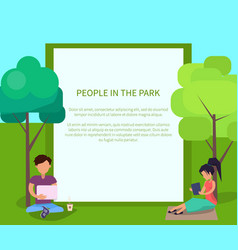 People in park using modern computer technologies vector