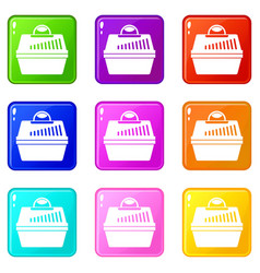 portable cage for pets icons 9 set vector image