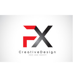 Red and black fx f x letter logo design creative vector