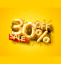 Sale 30 off ballon number on yellow background vector