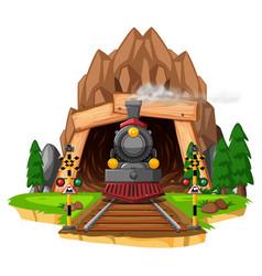 scene with locomotive on railroad vector image