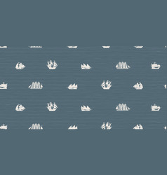 seamless pattern with various sailing ships vector image