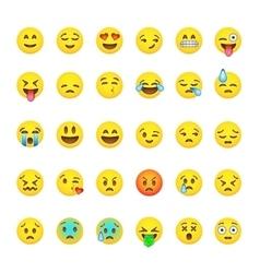 Set cute smiley emoticons emoji flat design vector