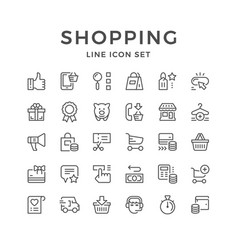 Set line icons of shopping vector