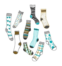 Set of doddle socks on a white background vector