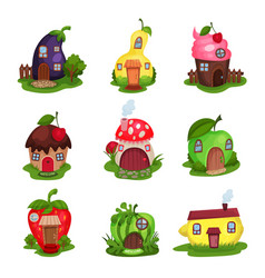 set of fantasy houses in form of eggplant pear vector image