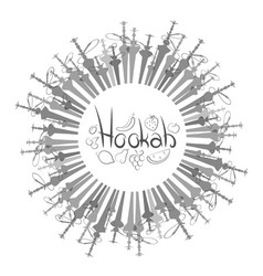 Set of hookahs circle vector