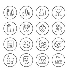set round line icons of allergy vector image