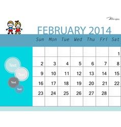 simple 2014 calendar february vector image