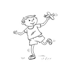 sketch fun boy runs with toy plane in his vector image