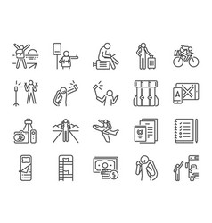 solo traveler line icon set vector image