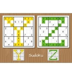 Sudoku set with answers Y Z letters vector