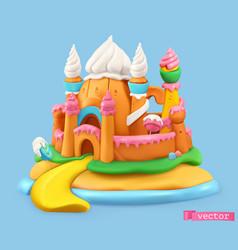 sweet castle 3d object plasticine art vector image