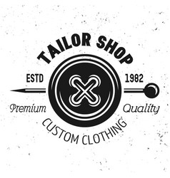 tailor shop emblem with clothes button vector image