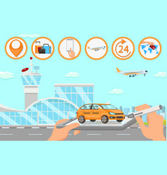 taxi services in airport flat vector image