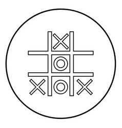 Tic tac toe game icon black color simple image vector