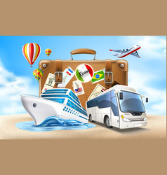 Travelling and tourism poster design 3d vector